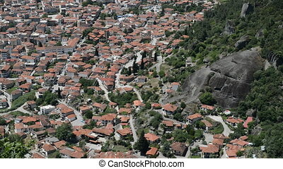 Panning the Kalambaka town and rock, Meteora,  Greece