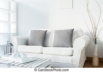 Living room in scandinavian style - Spacious white living...