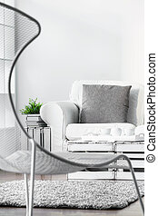 Modern armchair in modern lounge - White cozy lounge in...