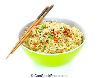 Cooked Instant Noodles - Cooked instant noodles isolated...