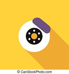 Brake disk icon, flat style - Brake disk icon in flat style...