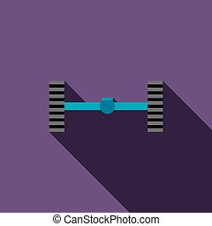 Chassis car icon in flat style on a violet background