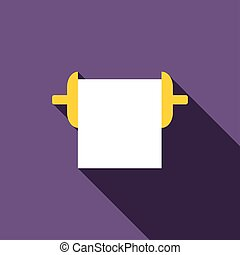 Roll paper towel icon, flat style - Roll paper towel icon in...