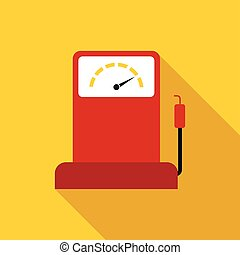 Gas station icon, flat style - Gas station icon in flat...