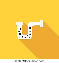 Clog in the pipe icon, flat style - Clog in the pipe icon in...