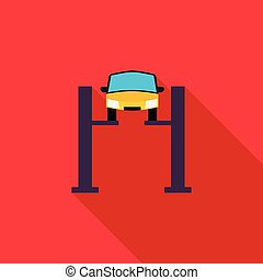 Car lifting icon in flat style