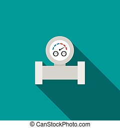 Water meter icon in flat style on a turquoise background