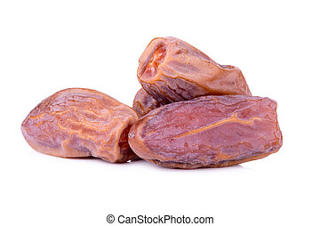 Medjool dates from above isolated on white background