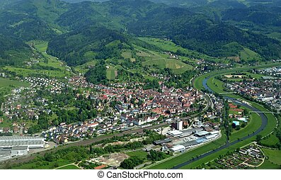 Gengenbach aerial - aerial view of the town of Gengenbach a...