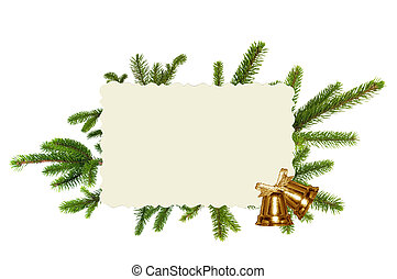 Green Christmas tree, golden bells and greeting card...