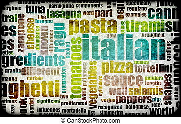 Italian Cuisine Food Menu in a Restaurant
