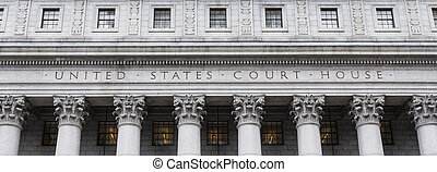 United States Court House Courthouse facade with columns,...