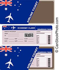 Plane ticket first class in Australia Vector illustration