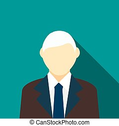 Man with gray hair in a suit icon, flat style