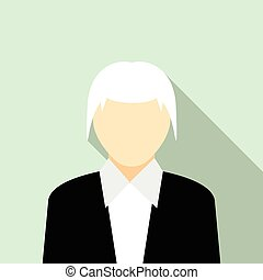 Woman with gray hair in a black suit icon in flat style on a...