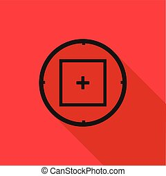 Optical sight icon, flat style - Optical sight icon in flat...