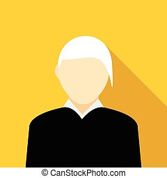 Woman with gray hair icon in flat style on a yellow...