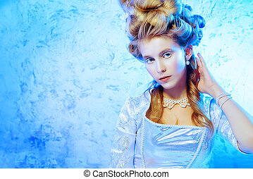 ice queen portrait - Beautiful young lady in a historical...