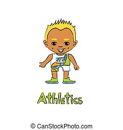 Cartoon Boy Athelete - Vector cartoon boy athelete in big...