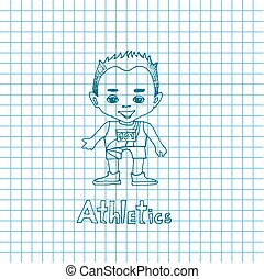 Sketch Cartoon Boy Athelete - Vector cartoon boy athelete in...