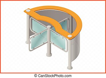 turnstile isometric perspective view flat vector 3d...