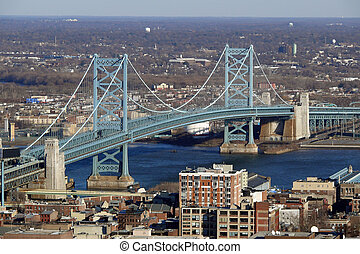 Philadelphias Ben Franklin Bridge - View of Philadelphias...