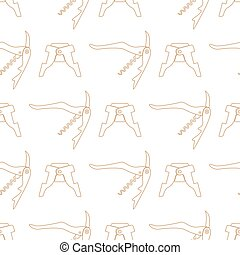 barman equipment contour seamless pattern - vector brown...