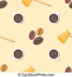coffee barista deco seamless pattern - vector colorful flat...