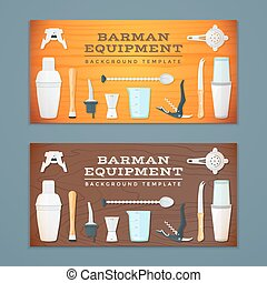 barman tools banner backdrops templates - vector colorful...