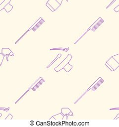 deco hairdresser tools seamless pattern - vector pink violet...