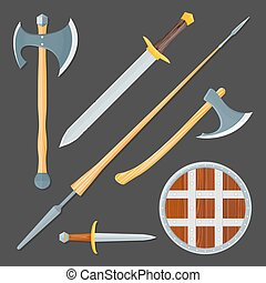 medieval cold weapon illustration set - vector colorful wood...