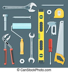 remodel construction tools illustration set - vector...