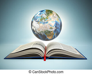 Opened book and Earth on blue background, Education concept.