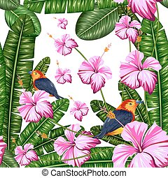Seamless Pattern with Exotic Tropical Flower