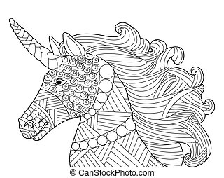 Head unicorn coloring vector for adults - Head unicorn...