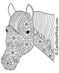 Head horse coloring vector for adults - Head horse coloring...