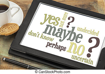 yes, no, maybe word cloud - undecided or uncertain concept -...