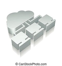Cloud technology icon: 3d metallic Cloud Network with...