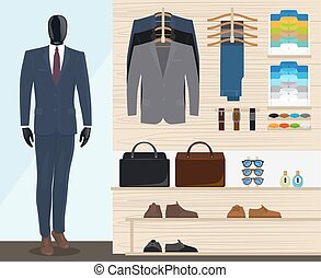 Man clothing store vector illustration. Mens clothes shop