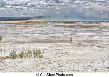 Grand Prismatic Spring - The dead edge of the GrandPrismatic...