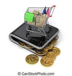 Virtual Wallet With Bitcoins And Shopping Cart 3D...