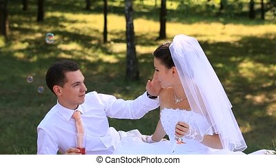 Wedding Bride and groom Outdoors - Bride and groom...
