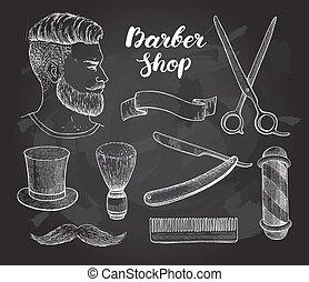 Vector vintage hand drawn Barber Shop set on chalkboard.