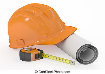 hard hat with blueprint and measuring tape, 3D rendering...