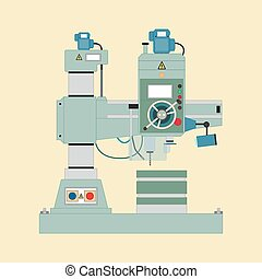 Radial Drilling Machine - Vector image of boring mill, flat...