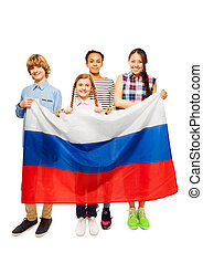 Group of four happy teenage kids with Russian flag - Group...