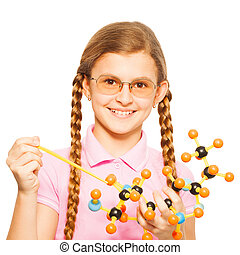 Girl in glasses with pointer and molecular model - Cute...