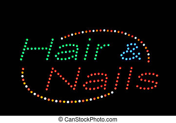 Hair and Nails Neon Sign - Hair and Nails Neon Green Blue...