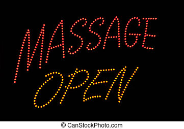 Massage Open Neon Sign - Massage Open Neon Red and Yellow...