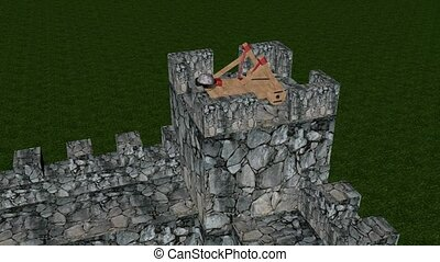 Catapult in the castle - Firing catapult to the castle tower